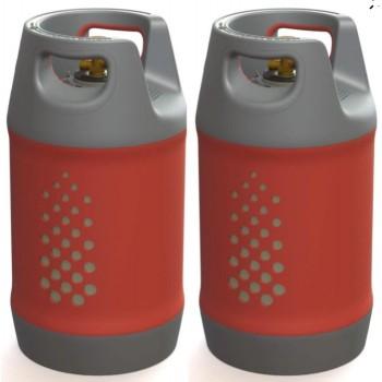 Kit 2 botellas Glp recargable 24,4L +24,4L sin indicador nivel